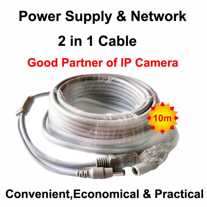 Network Power Cable 10m RJ45 Ethernet Port 2 in 1 Power supply & network Extension Cable IP Camera Line CCTV System LAN Cord 4pcs 12v 1a cctv system power dc switch power supply adapter for cctv system