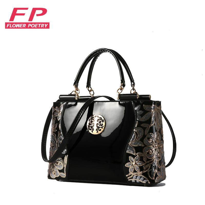 все цены на 2016 new patent leather women handbag famous brand shoulder bag luxury fashion tote Clutch Sequins design patent messenger bag онлайн