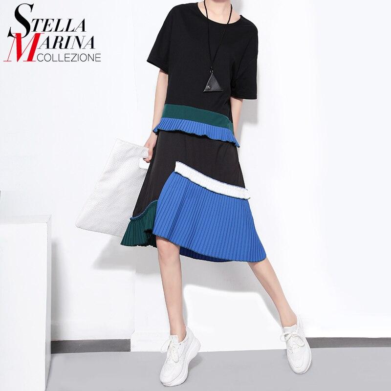 Buy Cheap 2017 Brand Summer Women Casual Midi Dress Short Sleeve Ruffles Pleated Blue Boho Hippie Girls Kawaii Sun Dresses Robe Femme 1452