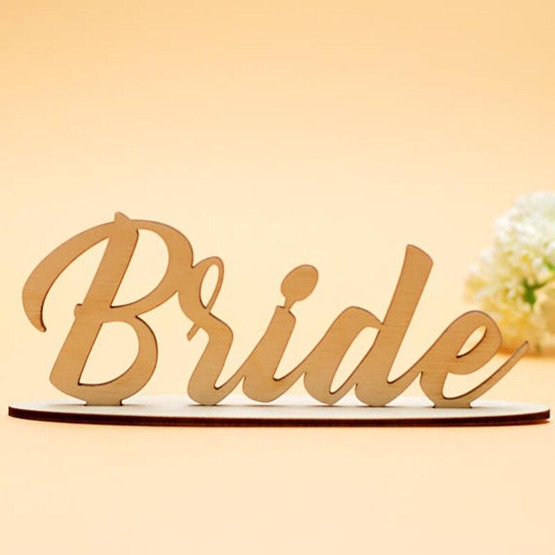 1 шт. деревянный Лазерная резка невеста Знак Древесины автономный невесты знак Свадебные душ Украшение стола Декор