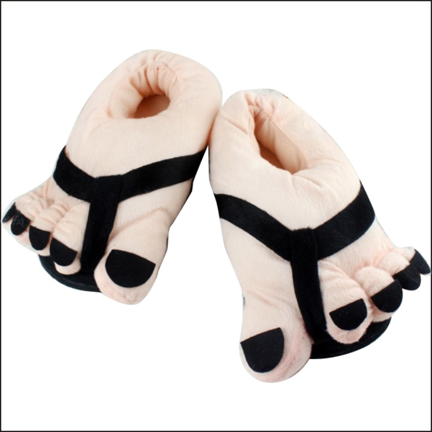 LIANGSHA House Shoes Cute Happy Big Feet Style Giant Toe Footwear Winter Warm Plush Slippers women home shoes emoji house fenty soft plush big feet pattern novelty slippers