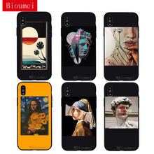 iwalk bcm002ih fashion mirror design protective plastic back case for iphone 5 black Bioumei Retro Painting Art black Soft TPU Case for iphone XR XS Max iphone 6 6S 7 8 Plus 5 fashion Back Cover Case for X 06