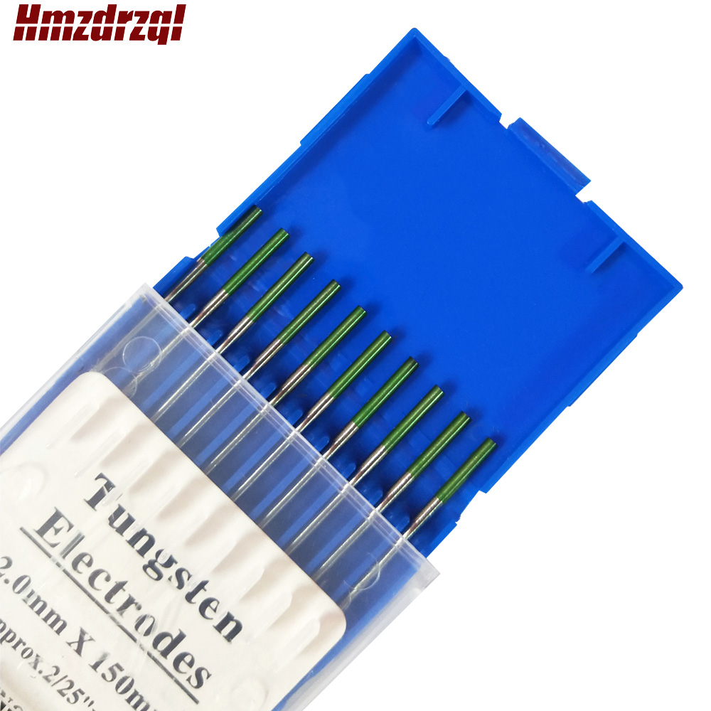 "WP 10 Piece Green Color 2.0mm*150mm  (approx.2/25""x6"") Pure Tungsten Electrode Head Tungsten Needle/Rod For Welding Machine"