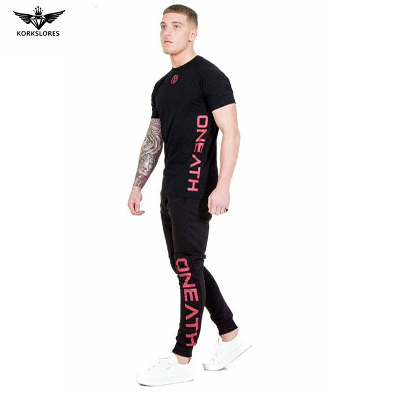 Gyms Mens Sets 2018 Fashion Sportswear Tracksuits Sets Mens T-shirt+Pants casual Suits Chandal Hombre Completo