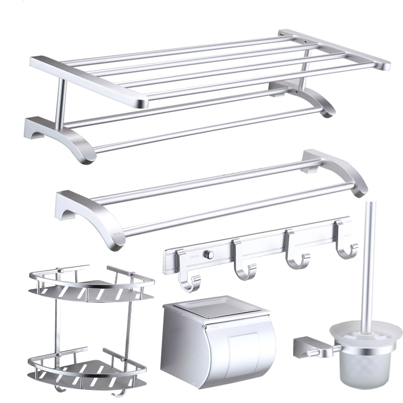 New Design Modern Space Aluminum Silver Sand Blasting Mounting Bathroom Products R622