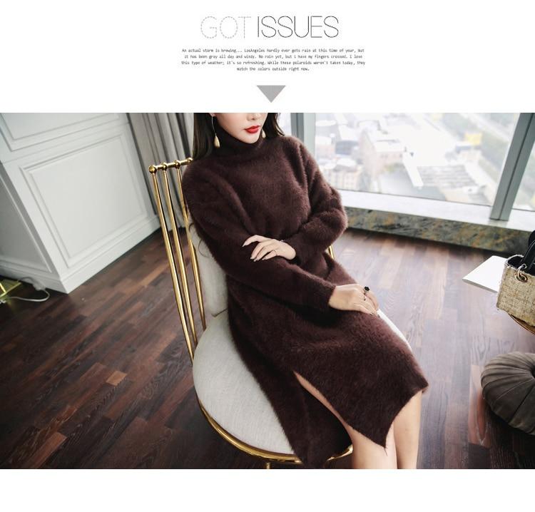Femmes Laine Casual Couleur Chandail Solide Robes Mode Chaud De Oshangchaopin Roulé Split Tricoté Vison À Col Longues Marron Manches 1RWnHxB