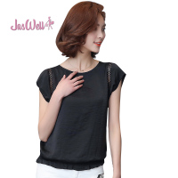 JasWell Candy Colors Summer Women Chiffon Blouses Shirts Ladies Short Sleeve Solid Fashion Loose Casual O