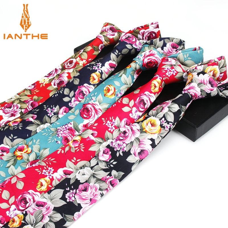 Mens Slim Neck Tie Vintage Floral Flower Printed Skinny Necktie Tie For Men Suit