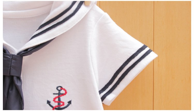 17 Newborn baby clothes White Navy Sailor uniforms summer baby rompers Short sleeve one-pieces jumpsuit baby boy girl clothing 5