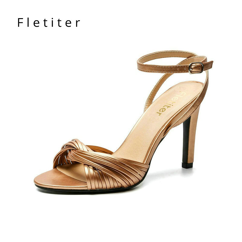 Fletiter Brand Sexy Women Shoes Straw Sandals 2018 Summer Shoes Ankle Strap High Heel Sandals Elegant Party Sandals for woman sweet fur ball decorated solid women sandals fashion ankle strap women pumps elegant high heel party shoes 3 colors available