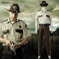 Rick Grimes Costume The Walking Dead Season 1 Cosplay New Year Carnival Outfit Shirt Pants Hat