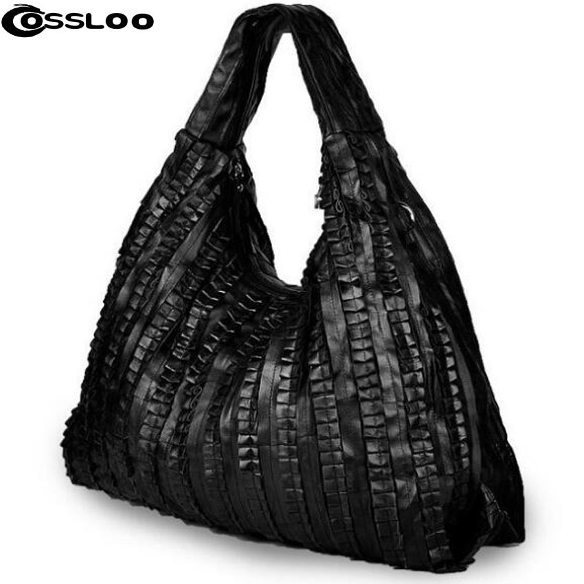 COSSLOO Women Genuine leather bags retro shoulder bag cowhide messenger handbag luxury handbags women bags designer bolsas women new handbags retro genuine leather handbag shoulder bag head layer cowhide messenger bags female pure hand made bags