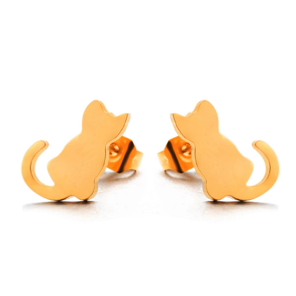 cat earrings gold