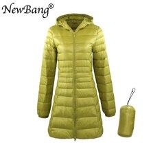 NewBang 8XL женское длинное теплое пуховое пальто с портативной сумкой для хранения, женский ультра легкий пуховик, женские пальто, длина до бедра