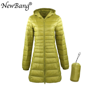 NewBang 8XL Ladies Long Warm Down Coat With Portable Storage Bag Women Ultra Light Down Jacket Women's Overcoats Hip-Length