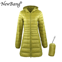 NewBang 8XL Ladies Long Warm Down Coat With Portable Storage Bag Women Ultra Light Down Jacket Women's Overcoats Hip Length