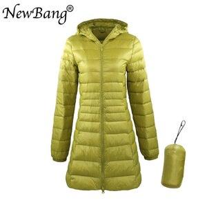Image 2 - NewBang 8XL damska długa ciepła puchowa kurtka z przenośna pamięć masowa torba damska ultralekka kurtka puchowa damskie płaszcze Hip Length