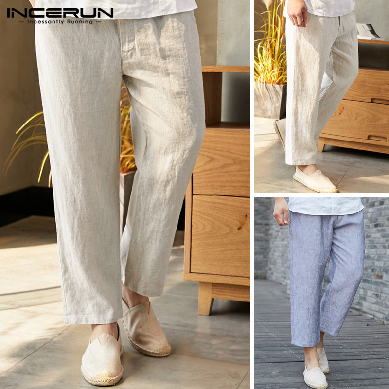 INCERUN Loose Summer Linen Cropped Men's Wide Leg Trousers Chinese Style Thin Section Cotton Casual Men's 2020 Beach Pants 5XL