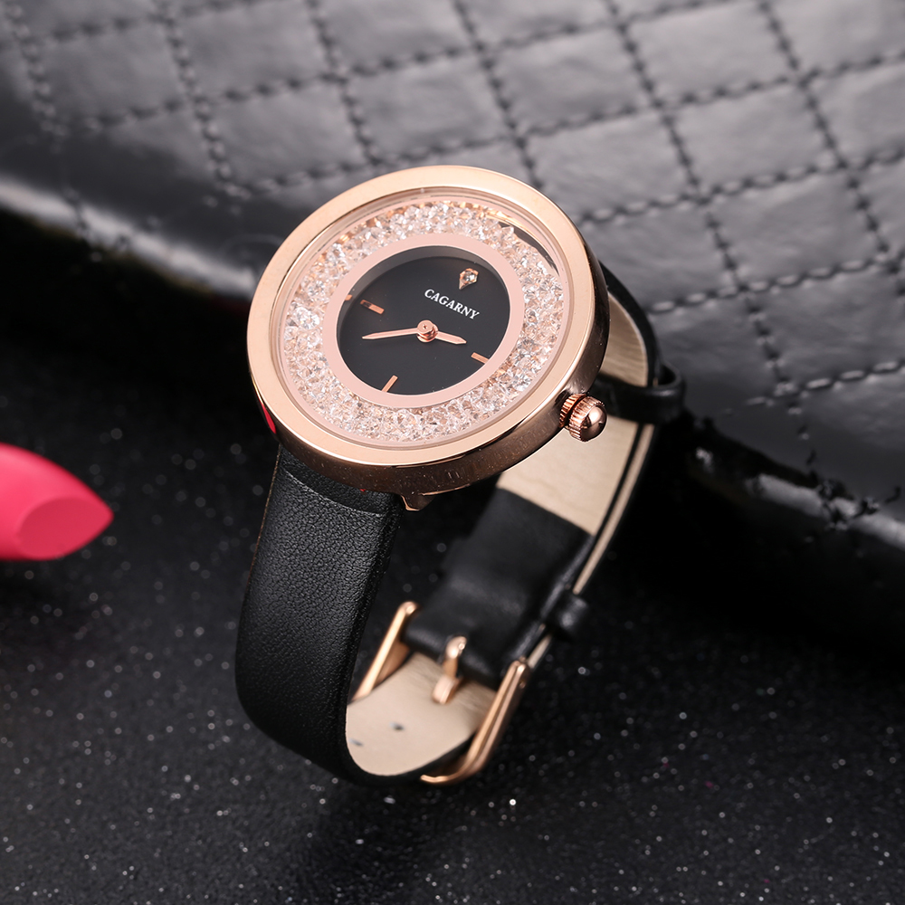 luxury brand quartz watch for women fashion ladies wristwatches rose gold case vogue leather strap with crystal free shipping (13)