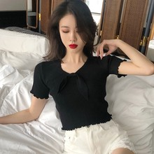 Vintage Wood Ears V Neck Short Sleeve T-shirt Woman Fashion Bow Slim Fit T Shirt 2019 New Summer Solid Korean Casual Tops