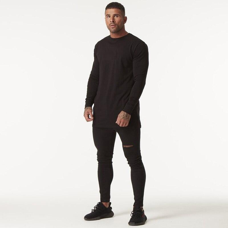 GINGTTO Long Sleeve T Shirt Men Black Hip Hop Drop Shoulder Longline Oversized Tee Male Autumn Winter Clothing Streetwear zm200