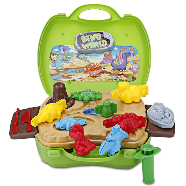 Kids Plasticine Colored Clay With Dinosaur Soft Montessori Classic toys high quality Child Play Dough Modeling Clay Tools Set