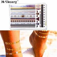 M-theory Metallic Gold Bracelet Temporary Tattoos Body Art Choker Tatto Flash Tatoos Sticker 21x15cm Dress Swimsuit Makeup Tools