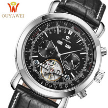 2019OUYAWEI Mechanical Watches Men Automatic Tourbillon Calendar Moon Phase Clock waterproof Business Casual Leather Wrist watch carnival mechanical men watch phase moon leather strap double calendar stainless steel multi function clock relogio masculino