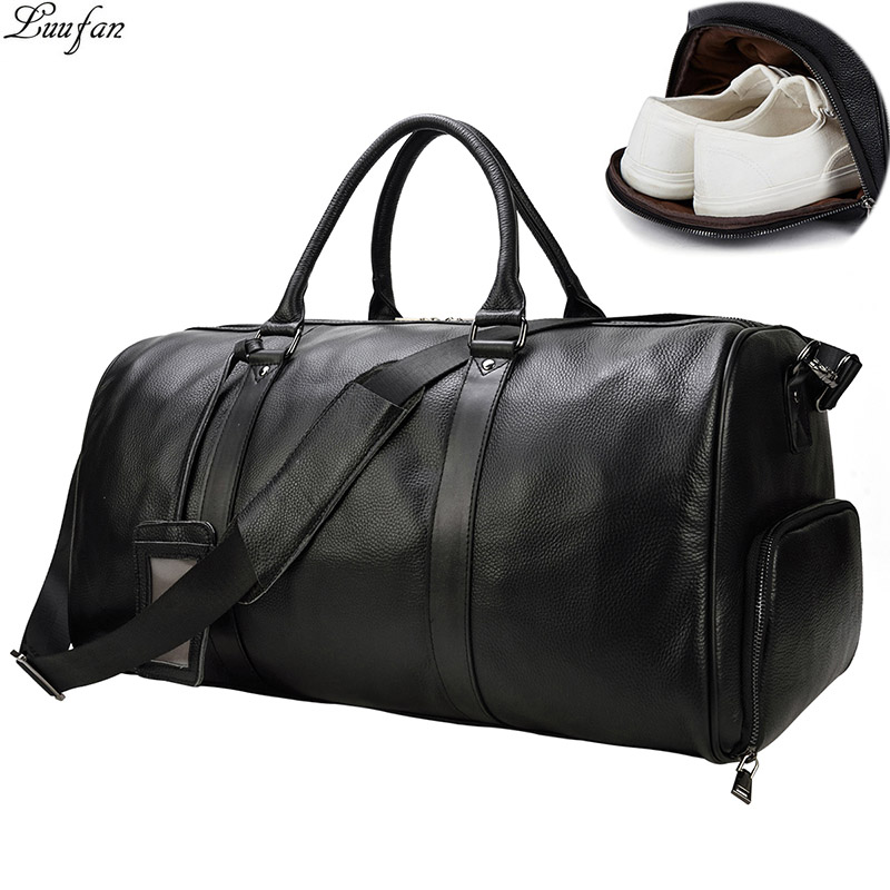 Big Capacity Genuine Cow Leather Men Travel Bags Fit 16 Inch Laptop Cowhide Duffel Bag Luggage Weekend Large Tote Crossbody Bags