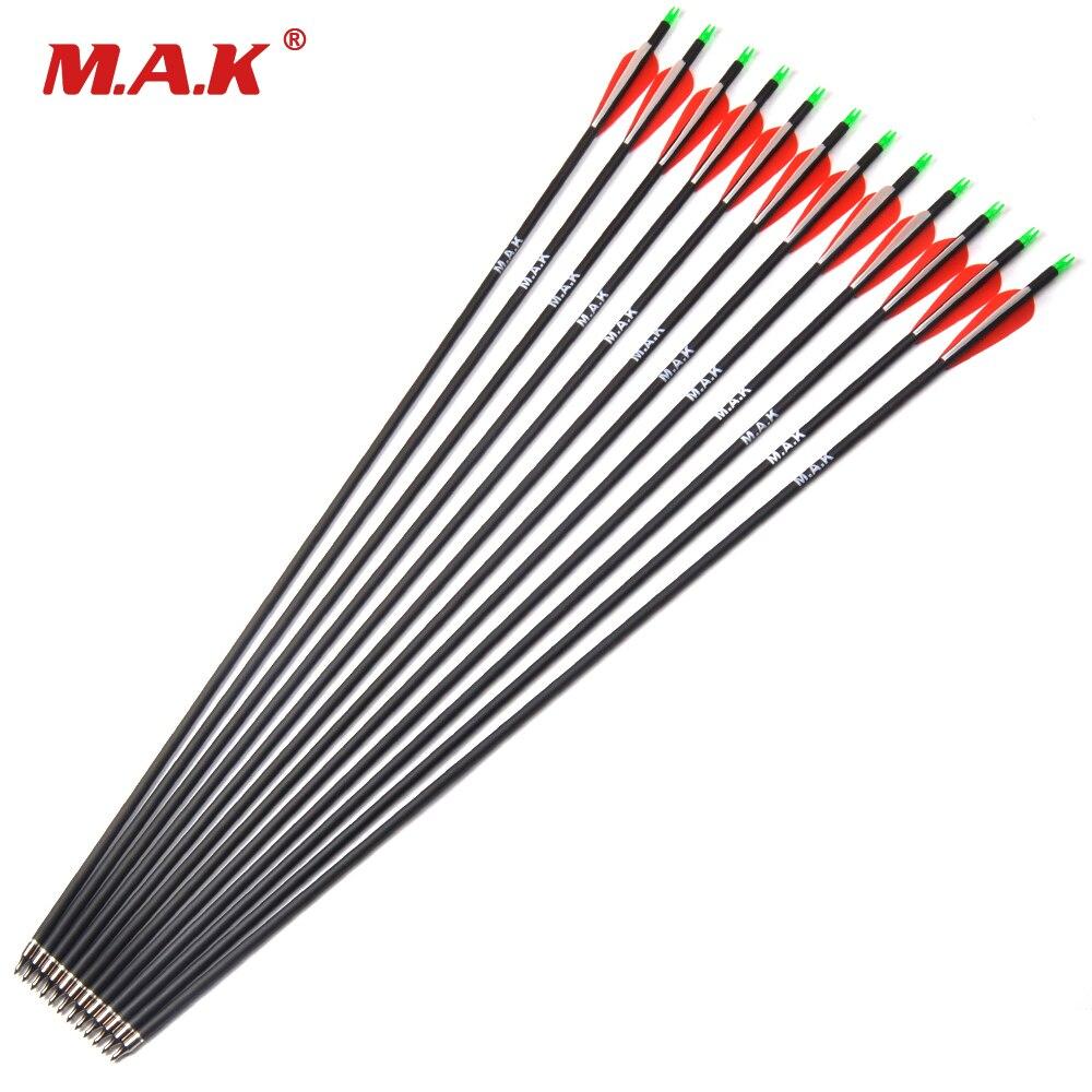 """Flèche en carbone 500 de la colonne vertébrale 28 """"/30"""" de longueur avec pointes de flèche remplaçables et pointes réglables pour le tir à l'arc classique/classique"""