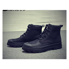 LAISUMK High-Top Shoes Mens Retro Black Lace-Up Flat Casual Fashion High Quality Wear-Resistant Antiskid Male Large Size