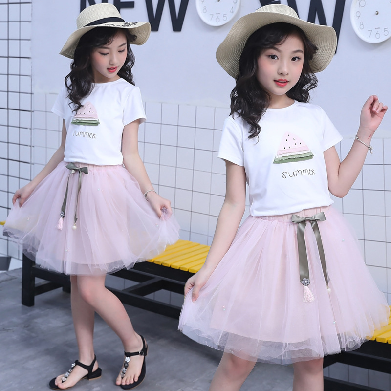 Girls Children's Summer Clothes Fruits T shirt +Tutu Tulle Skirt 2 Pcs Clothing Sets Suits For Teens Girls Skirts Sets New 2018 fashion minnie t shirt long tutu skirt 2 pcs baby girls clothing children cartoon suits new summer clothes set free shipping