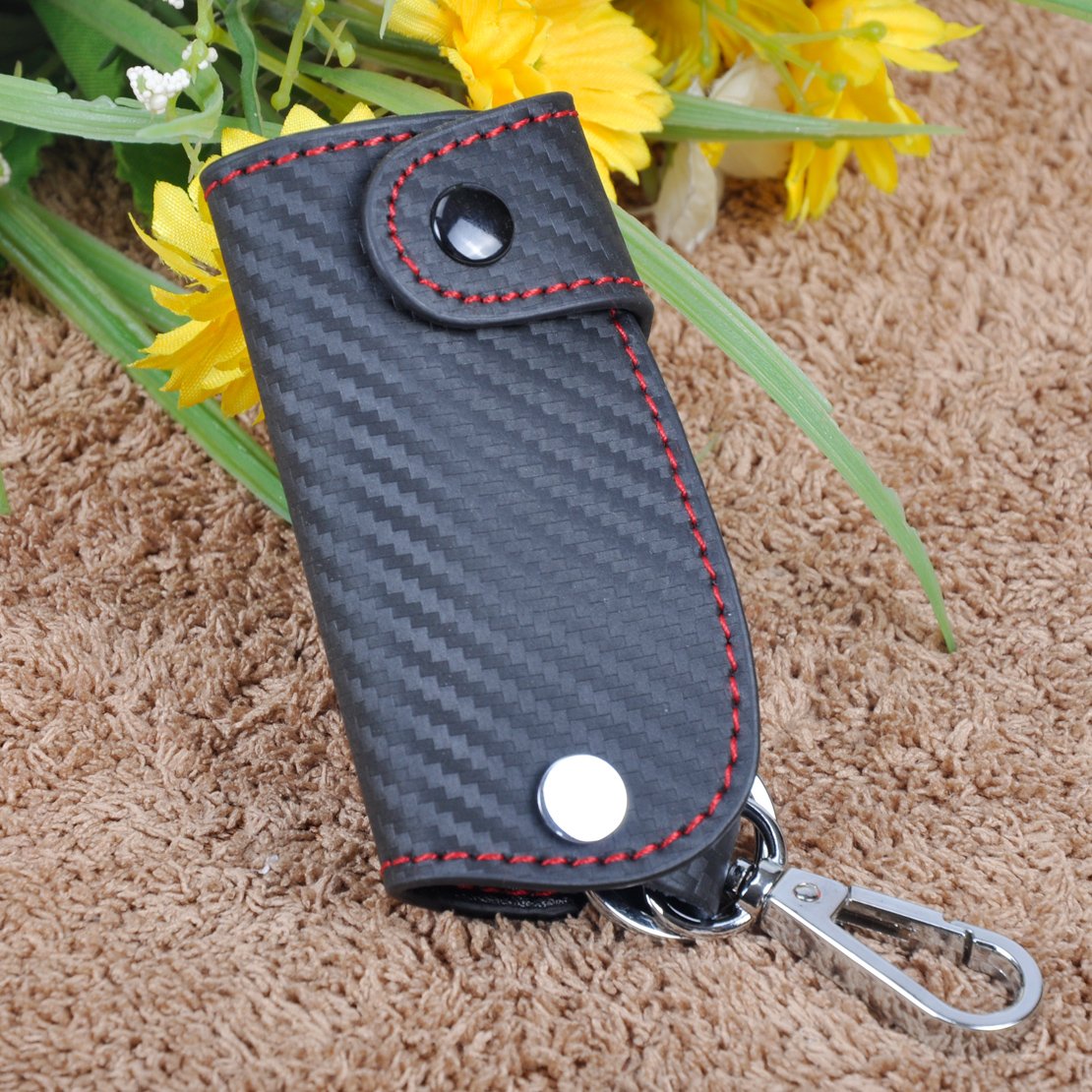DWCX 3D Leather Carbon Fiber <font><b>Remote</b></font> Key Case chain <font><b>keyless</b></font> Fob cover Holder for Porsche Mercedes-Benz VW <font><b>Honda</b></font> Infiniti Lexus image
