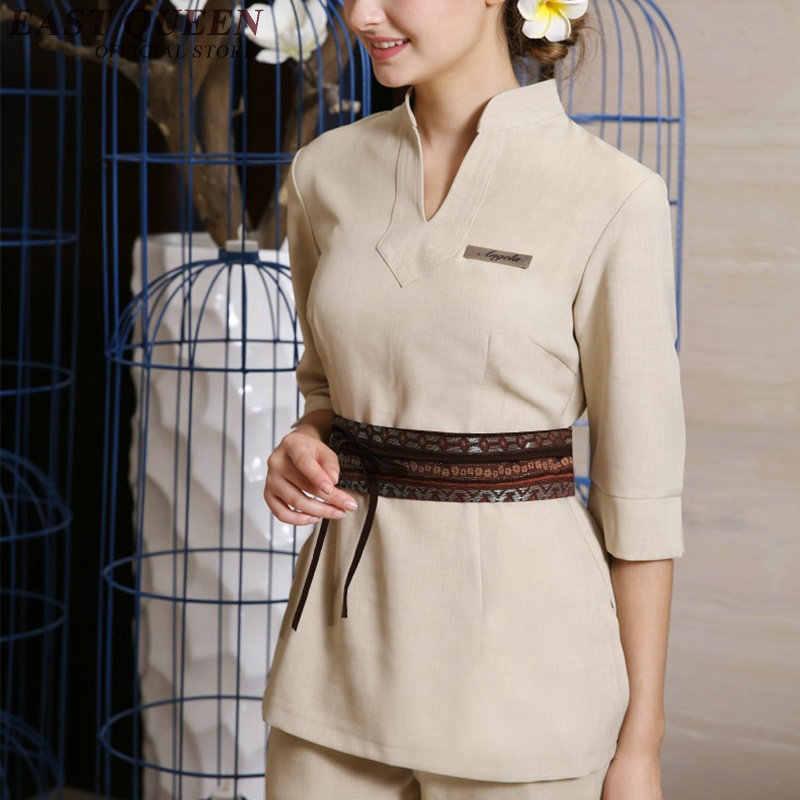 Toptan iş elbisesi üniforma güzellik uzmanı tulum zarif üniforma güzellik salonu spa için güzellik iş elbiseleri AA2697 YQ