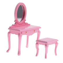 1/12 Dollhouse Miniatures Bedroom Furniture Wooden Dressing Table with Openable Drawer & Stool Set Interior Decoration elegant and delicate home furniture bedroom mirrored bedside table classic design cabinet with one drawer