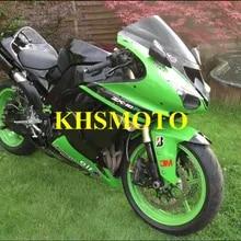 ZXMOTO Motorcycle ABS Plastic Bodywork Fairing Kit for Kawasaki Ninja ZX-10R 2006-2007 Green Pieces//kit: 19