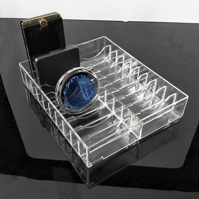 Transparent Acrylique Poudre Gâteau Présentoir Boîte à Bijoux Organisateur De Maquillage Cosmétique 20 Fentes Support De Stockage