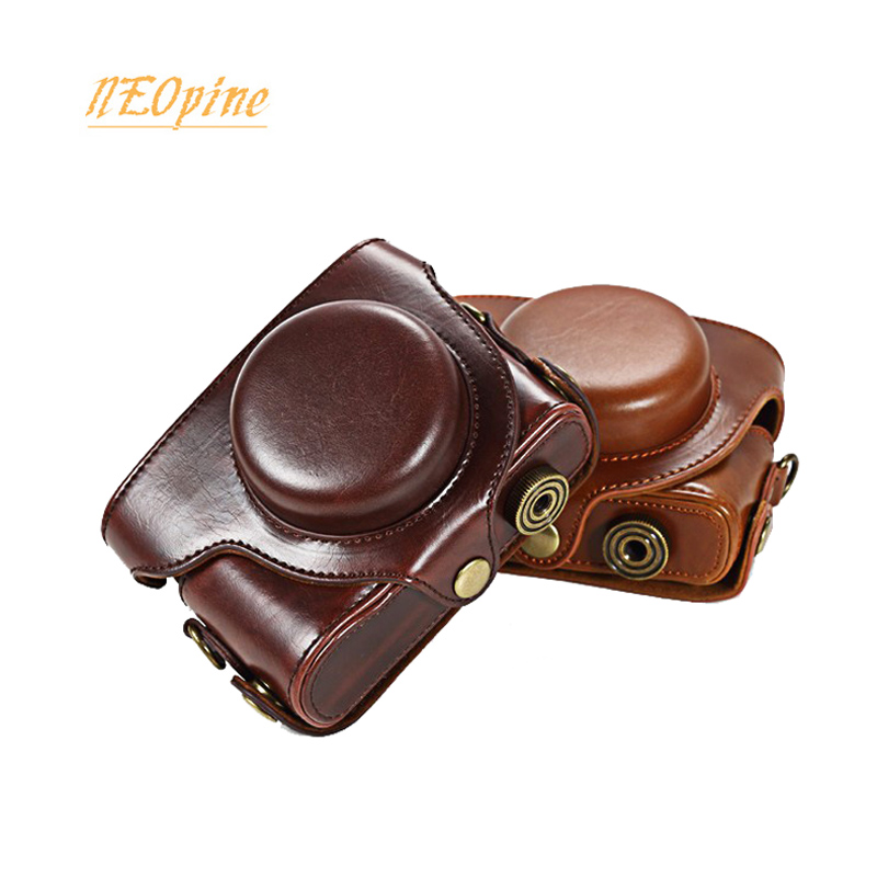 PU Leather <font><b>Case</b></font> Camera Bag for Panasonic <font><b>LUMIX</b></font> <font><b>LX100</b></font> DMC-<font><b>LX100</b></font> portable protective cover with strap image