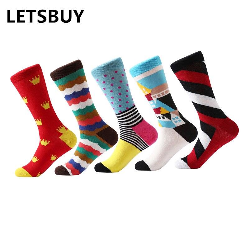 LETSBUY 5 pair/lot Mens socks Gradient stripe socks Business dress men popular bright funny socks colorful long wedding gift