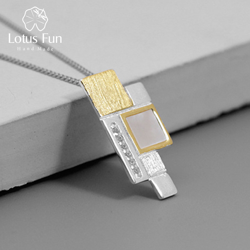a2739fdcb9d Lotus Fun Real 925 Sterling Silver Natural Shell Fine Jewelry Simple  Staggered Square Slice Pendant without Chain for Women