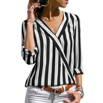 a315fc67c15 Product Offer. Женская шифоновая блузка 2019 летняя элегантная полосатая с  v-образным вырезом блуза рубашка свободный повседневные топы ...