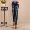 2017 Womens Skinny High Waist Embroidery Pencil Jean Stretch Denim Pants Slim Multi-hole hole Patch Tide Jean Trousers