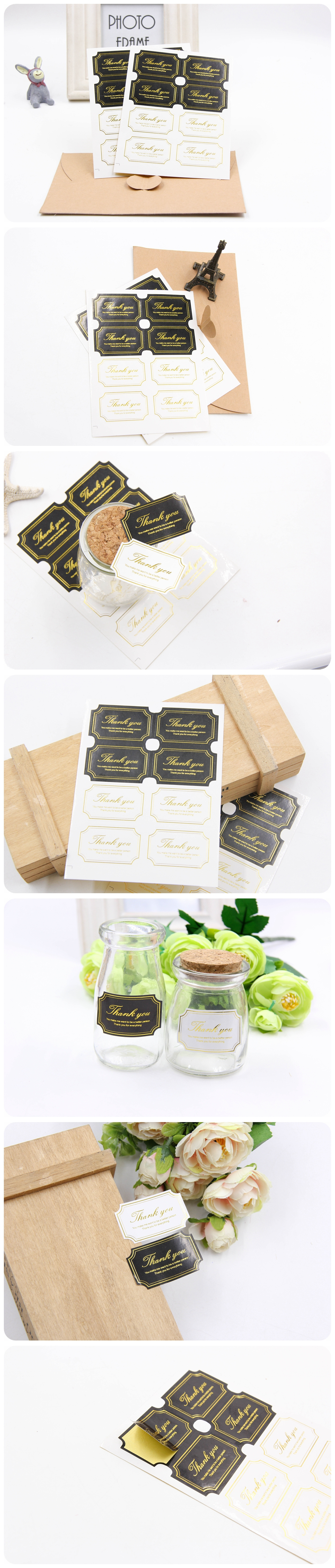 80PCS White&Black Thank You Gold Edge Tags Stickers Gift Tags Party ...