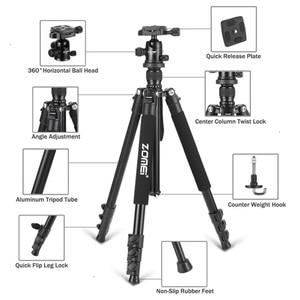Image 2 - Zomei Q555 מקצועי אלומיניום גמיש מצלמה חצובה Stand עבור DSLR מצלמות נייד חצובות 360 תואר מסתובב