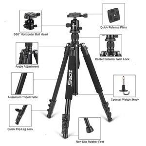 Image 2 - Zomei Q555 profesjonalna aluminiowa elastyczna kamera stojak trójnóg do lustrzanki cyfrowe przenośne statywy 360 stopni obracanie