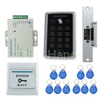Cheap 1000users RFID Access Control System Kit Set + Strike Door Lock + ID keyfobs + Power + Exit Button