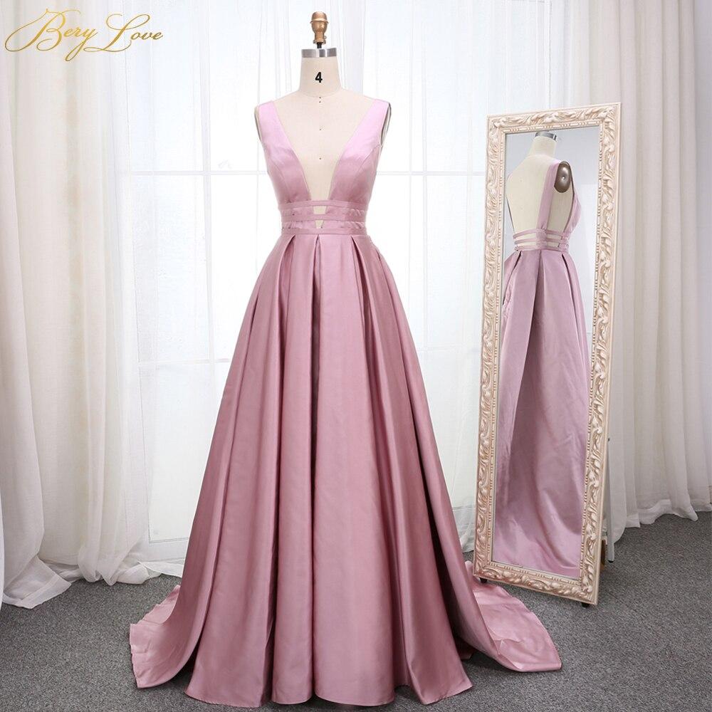 Elegant Dirty Blush Pink Evening Dress 2019 Deep V Neck Satin Long vestidos de fiesta de