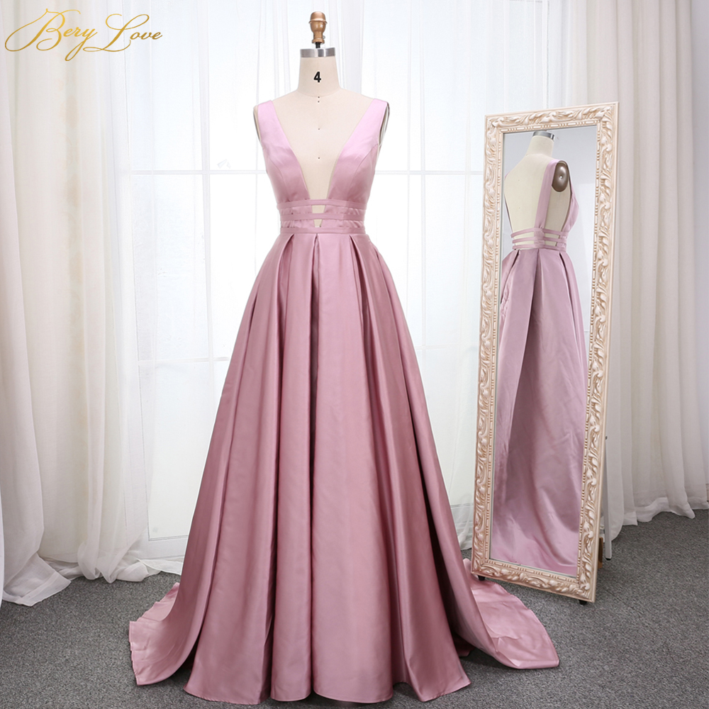 Elegant Dirty Blush Pink Evening Dress 2019 Deep V Neck Satin Long vestidos de fiesta de noche Formal Prom Dress abendkleider
