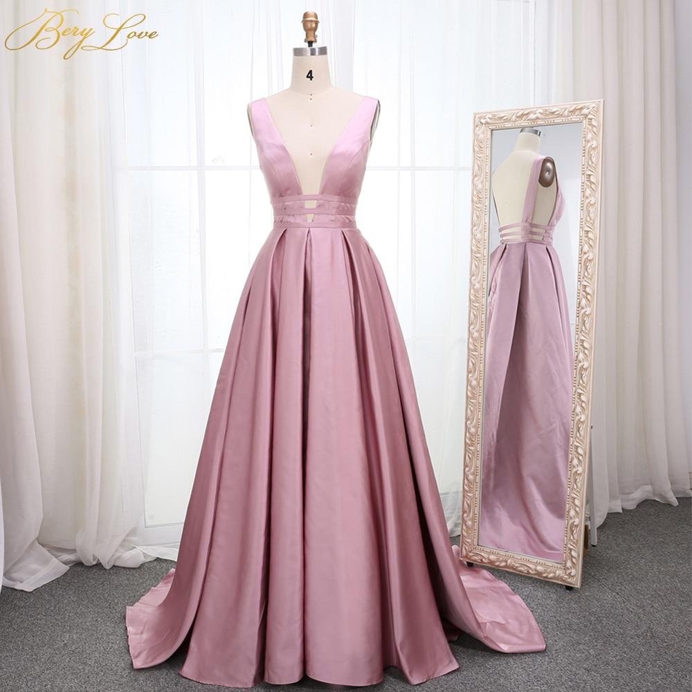 Elegant Dirty Blush Pink Evening Dress 2020 Deep V Neck Satin Long Vestidos De Fiesta De Noche Formal Prom Dress Abendkleider