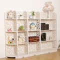 New Arrival 4pcs/set White 4 Tier Shoe Racks Wood Carving Book Shelf Closet Organizer Storage Living Room Furniture 153*23*120CM